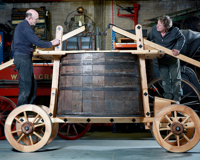 17th century fire engine reconstructed for Museum of London by Croford Coachbuilders. Credit Matt Alexander/PA Wire.
