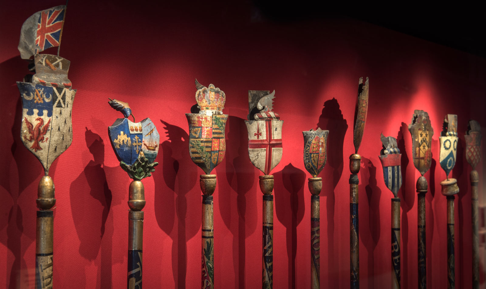 Staves used in City of London ceremonies on display in the City gallery.