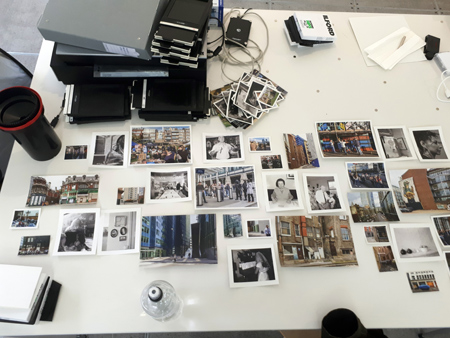 Planning the layout of photographs for display in the Magnum Live Lab.