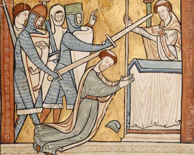 St. Thomas Becket is being made a saint by being hacked to death by four knights.