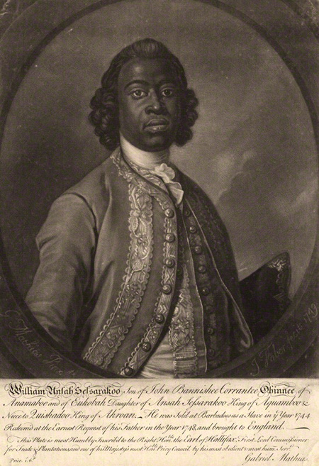 William Sessarakoo, an African prince sold into slavery in the 1700s. Image copyright National Portrait Gallery.