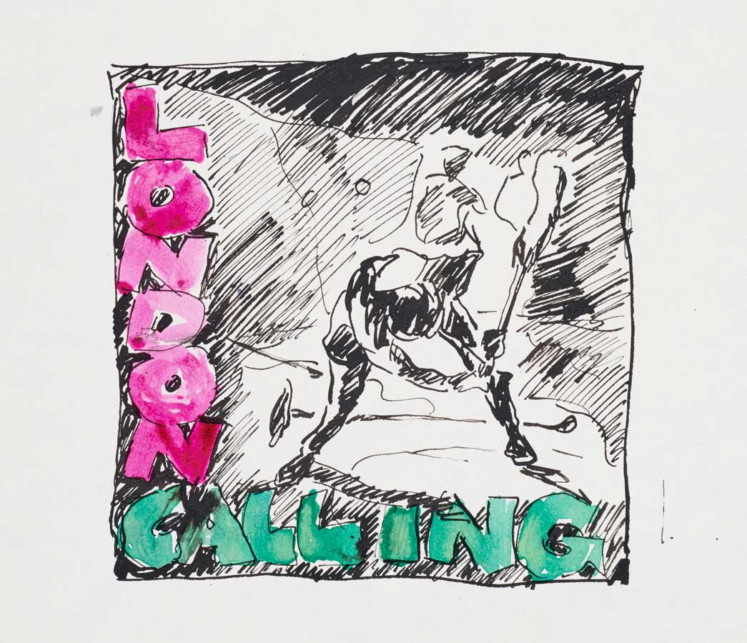 A preliminary sketch by Ray Lowry for the cover artwork of the 1979 album London Calling by the clash, circa September 1979.