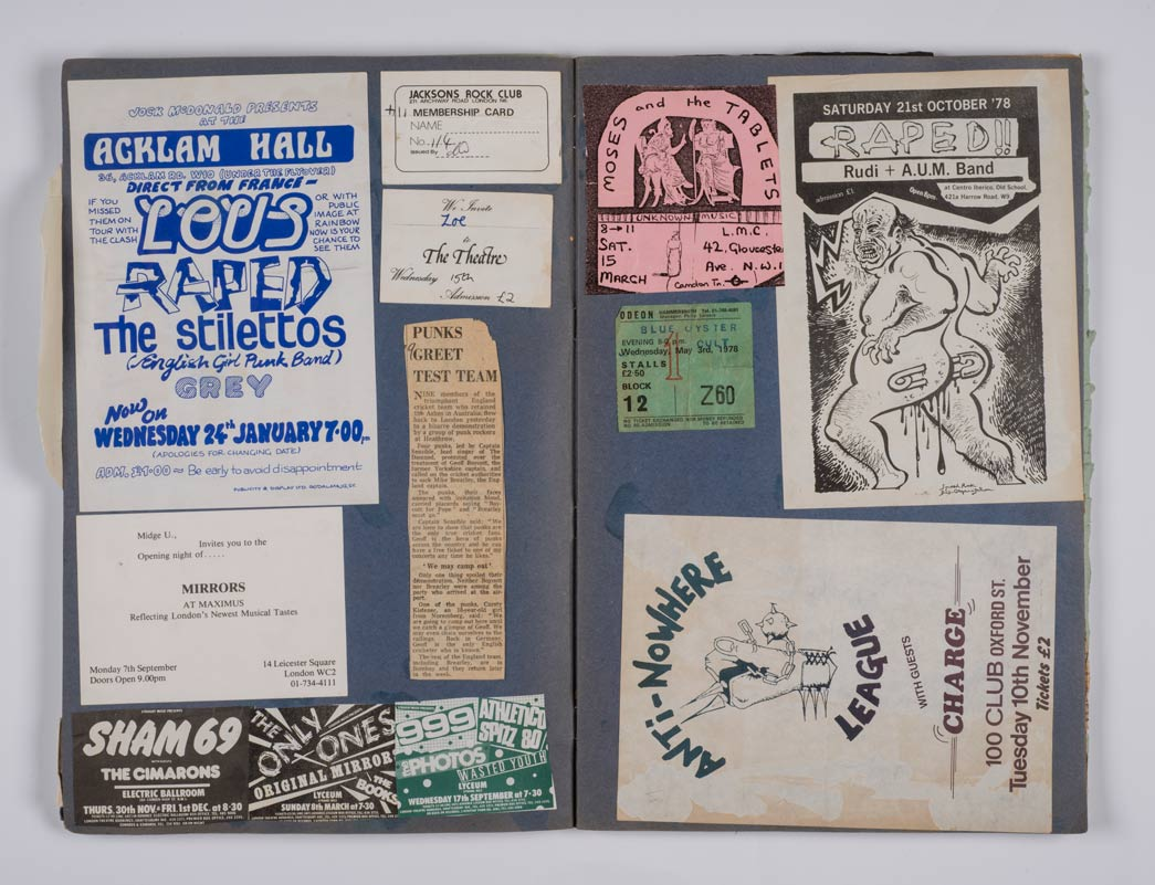 Scrapbook of punk memorabilia, from tickets to leaflets, collected by Zoe Neale.