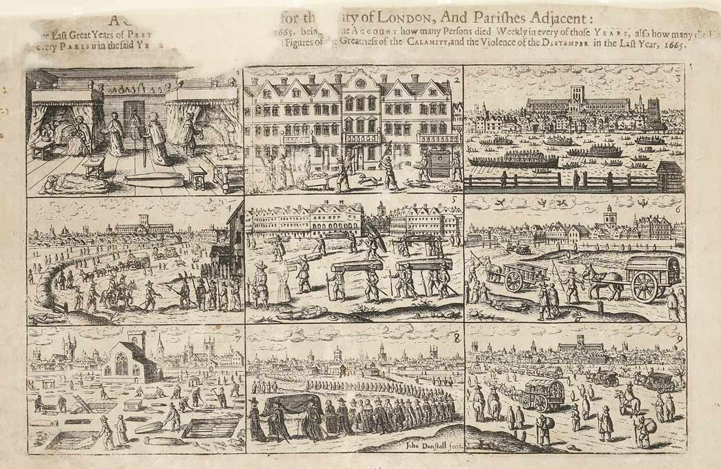 Plague broadsheet comprising nine scenes relating to the 1665 plague.