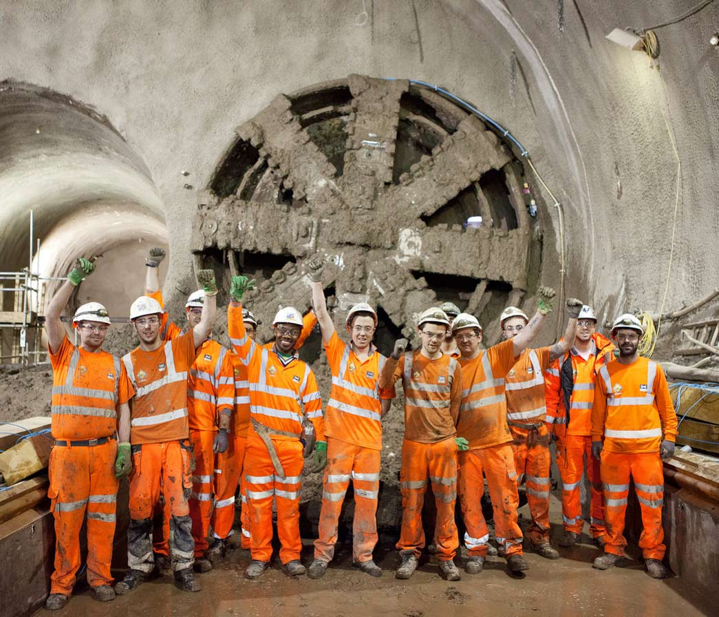 A Tunnel Boring Machine breaks through into into stepney green cavern, January 2014. Crossrail.