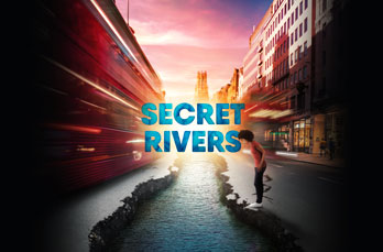 Creative design for Secret Rivers: a woman stands on the cracked edge of pavement at an uncovered river beneath.