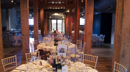 Wedding reception or breakfast table setting at Docklands