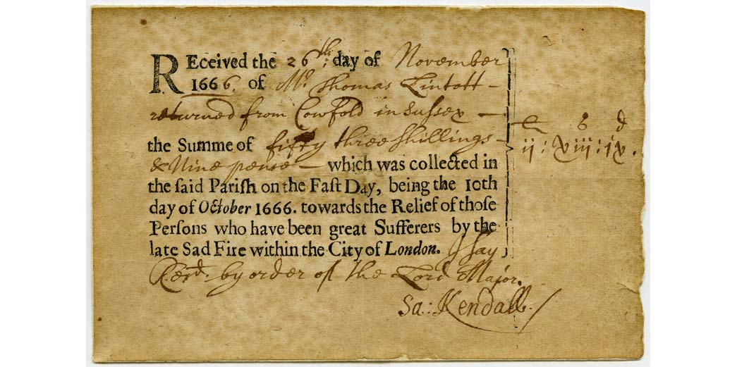 Receipt recording donations from the village of Cowfold to London after the Great fire of 1666.