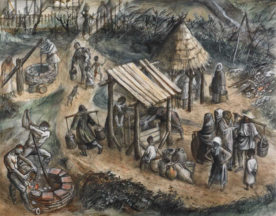 Reconstruction showing people drawing water from Roman wells in the Walbrook/Queen Street area.