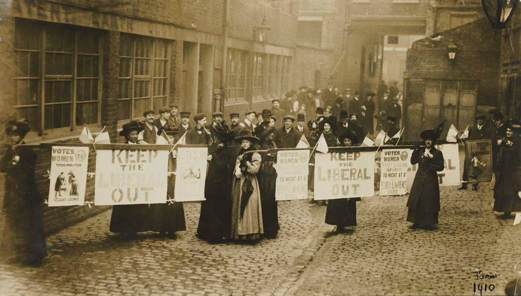 Suffragettes campaigning in South St Pancras during the General Election, January 1910. This was the first of the two general elections of 1910.