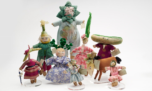 Group shot of the vegetable dolls in our collection