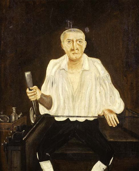 This is probably the earliest British painting of a glassblower. A Whitefriars glassblower is seated on a glassblower's 'chair' shaping the foot of a wine glass with tongs. By his side are an assortment of callipers and a box filled with glass products, including two ring decanters which may date from the 1820s. Due to the intense heat in the glass factory, he is wearing only a shirt and knee breeches. On his right wrist is a leather cuff to protect him from broken or hot glass.  < ...Read more