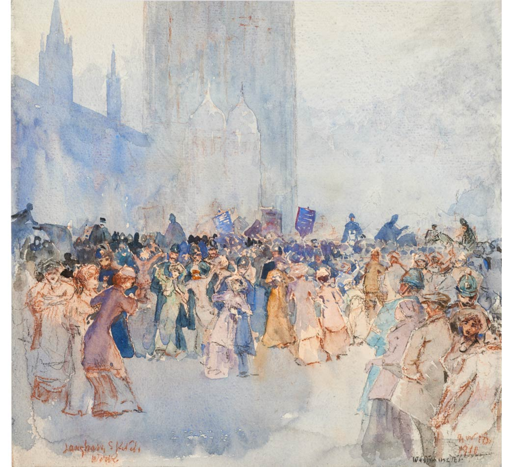 Watercolour and pastel drawing of a Suffragette demonstration and police making arrests outside Houses of Parliament, by William Monk. On the reverse in pencil reads: 'Suffragettes / sketched from actual scene'.