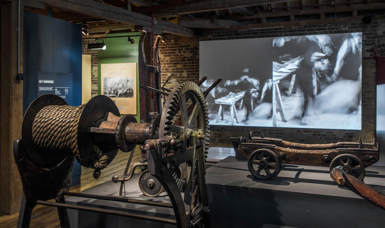 Winch and film displayed in the No. 1 Warehouse gallery.