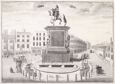 A view of the equestrian statue of King Charles I by Hubert Le Sueur in Cockspur Street, Charing Cross. It shows the sedan chair vendors around the base and carriages in the surrounding streets.