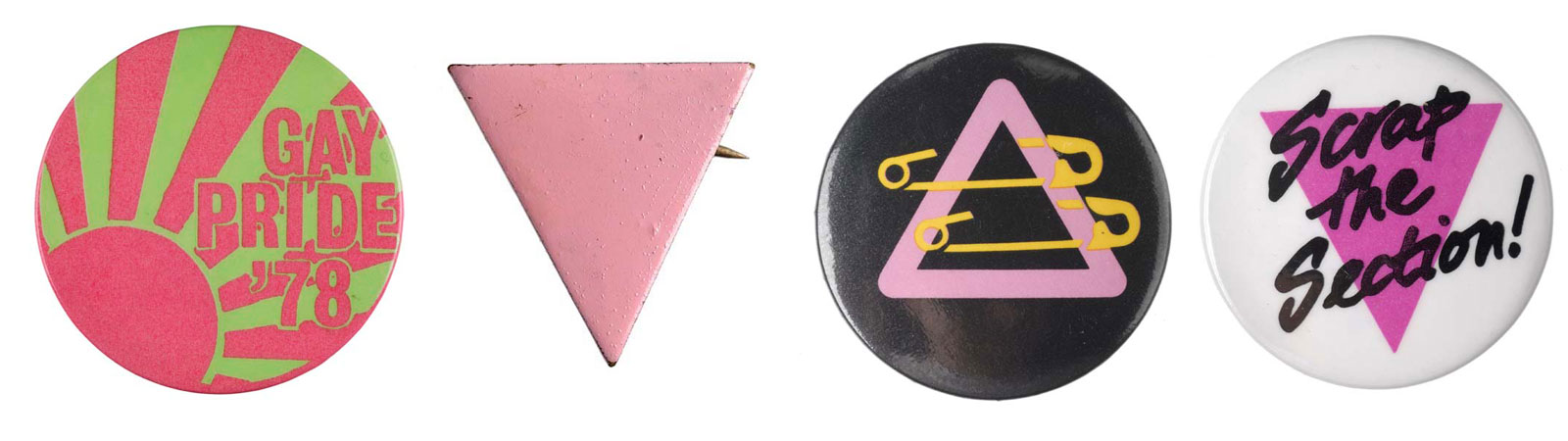 The pink triangle emblem is a reference to the cloth badges that homosexual prisoners were forced to wear on their uniforms in Nazi concentration camps.
