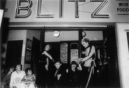 Group of young clubbers outside The Blitz club, Covent Garden. The Club is widely regarded as being the birth place of the New Romantics in the early 1980s and those who frequented it were known as 'Blitz Kids'. This photograph is thought to have been made on the closing night of the club in September 1981.