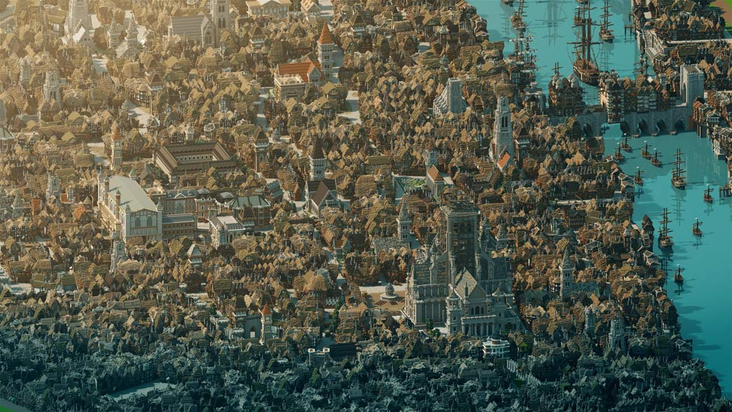 A view of the City of London in 1666, before the Great Fire, rendered in the Minecraft video game.