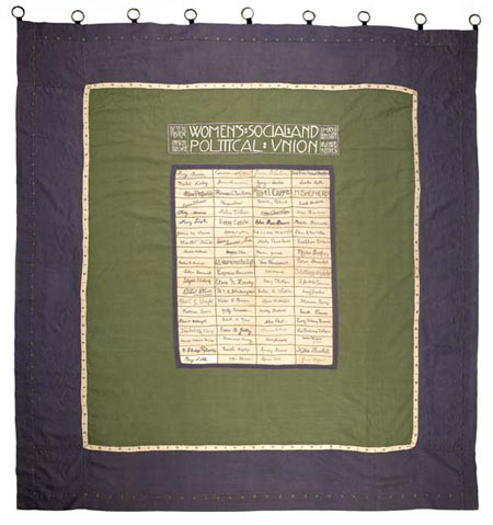 Suffragette banner signed by hunger strikers.