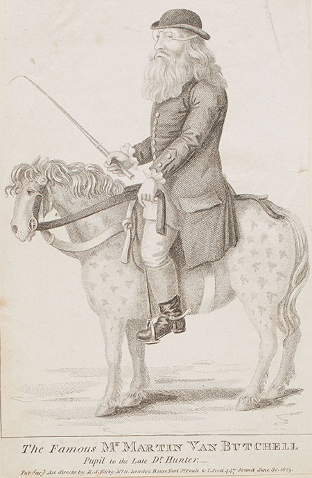 Acquatint depicting 'The Famous Mr Martin van Butchell' on a horse, 1759-1775. NN27767