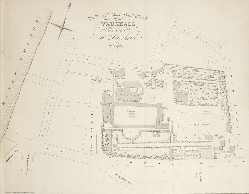 A plan of the Vauxhall Gardens in 1841. This image comes from a portfolio containing about 150 handbills, programmes etc. dating between 1827 and 1859, relating to Vauxhall Gardens, and a packet of Vauxhall songs.