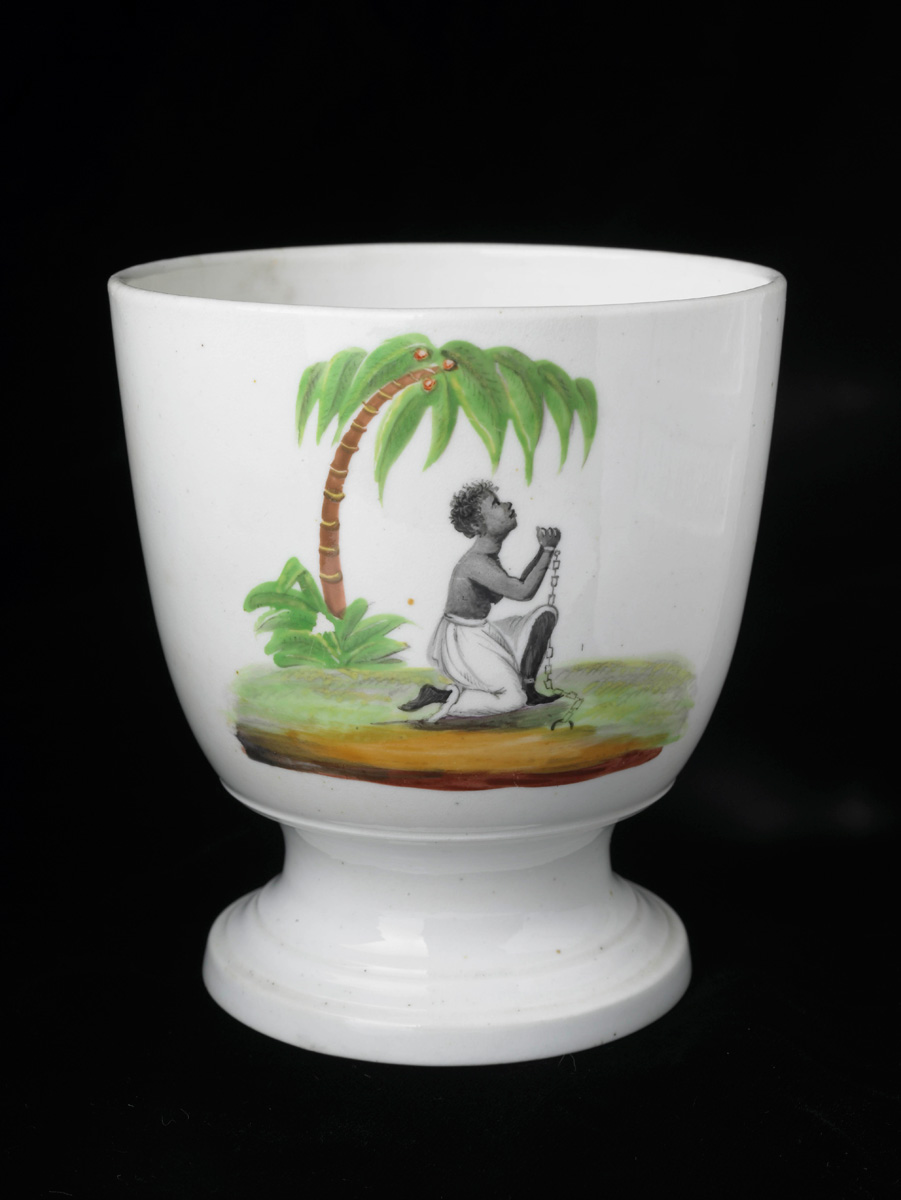 Sugar bowl with an abolitionist design depicting a pleading enslaved African.