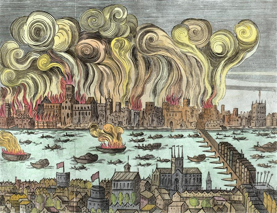 Woodcut depicting Great Fire of London.