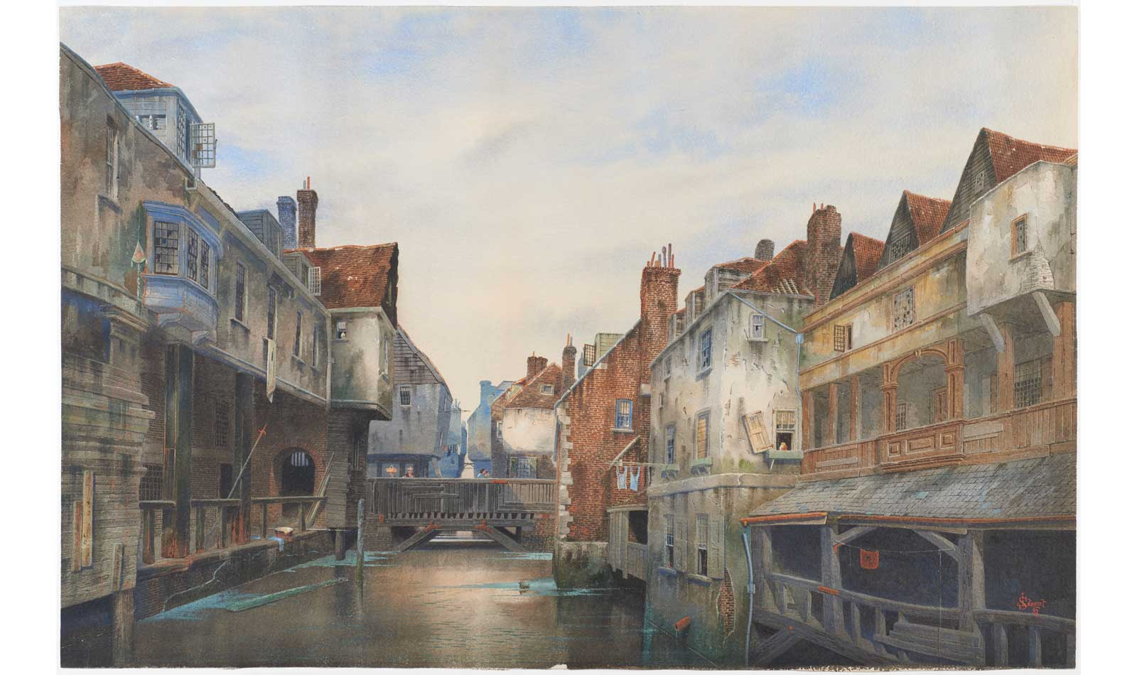 A painting of Jacob's Island, a 19th century London slum.