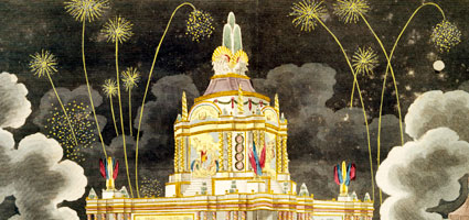 The Museum of Londons' learning programmes have won several wards. Picturechase no 001750; A Perspective View of the Revolving Temple of Concord which was invented by Sir William Congreve Bart and erected in the Green Park for the display of a grand firework. Coloured aquatint and etching. The temple of concord was erected in Celebration of the Glorious Peace of 1814. This view shows the Temple of Concord as erected in Green Park and is not shown realistically. The night scene shows a crowd on the foreground looking at the fireworks. There are two clouds of smoke on the right and left of the composition and the temple is shown on the centre of the image. A Perspective View of the Revolving Temple of Concord: 1814.