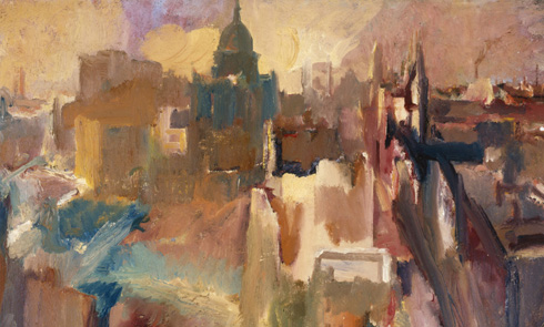 Painting of London in the Blitz, looking towards St Paul's.