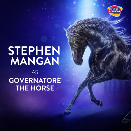 A prancing black horse next to text saying Stephen Mangan as Governatore.