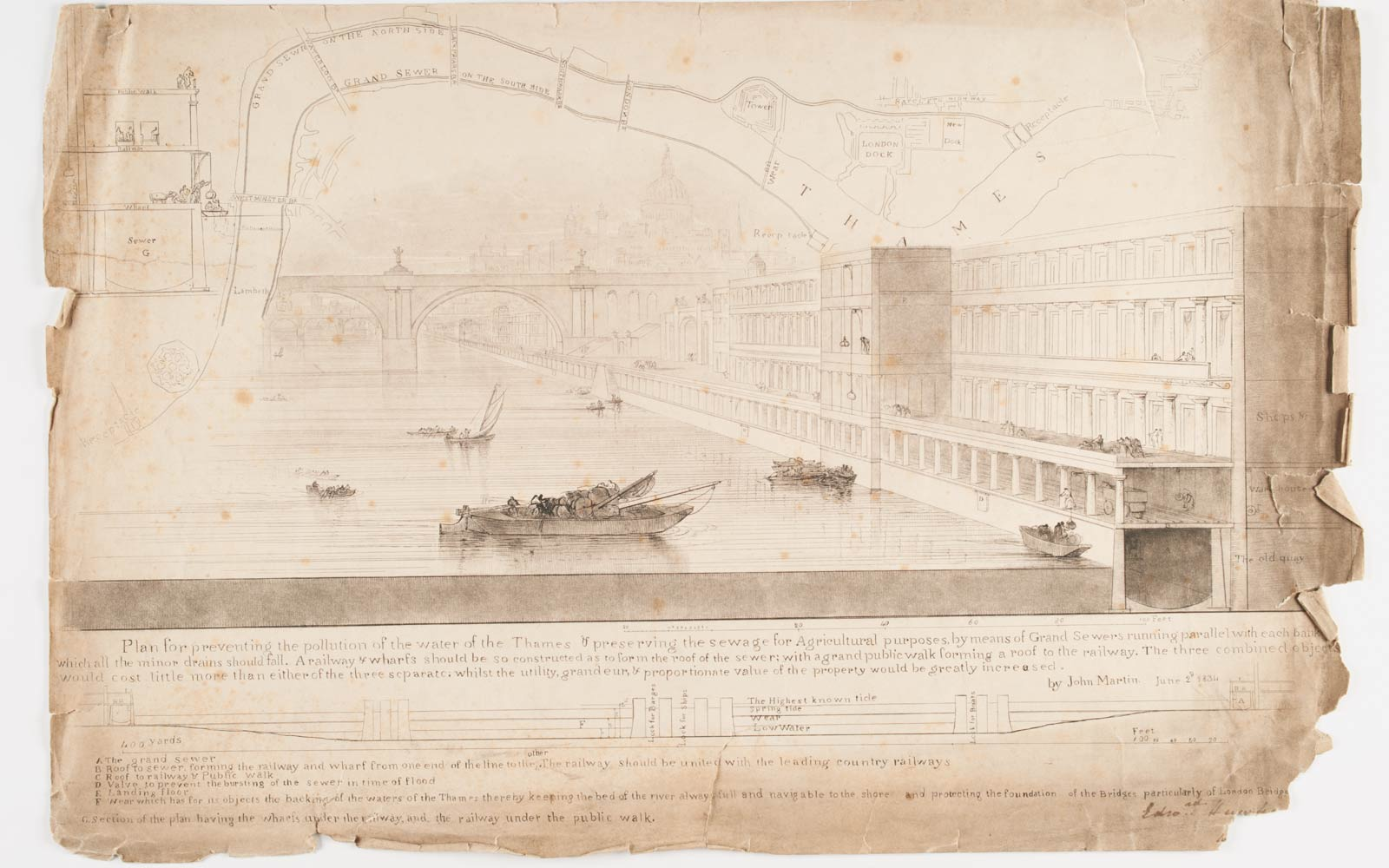 Plans by the artist John Martin for a solution to London's drainage issue.