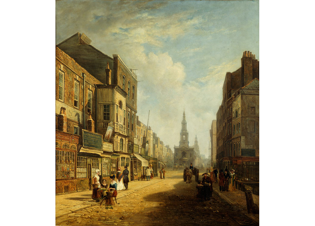 The Strand, Looking Eastwards from Exeter Change. A view of part of Strand from looking towards St. Mary-le-Strand and St. Clement Danes. Savoy St. is on the extreme right and Wellington St is in the middle distance. The painting was exhibited at the British Institution in 1825.