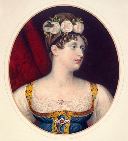 Portrait of Princess Charlotte of Saxe-Coburg (1796-1817). Princess Charlotte was the only daughter of George IV and Caroline. Watercolour drawing.