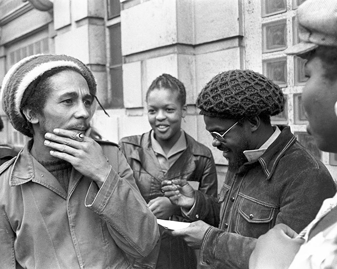 Bob Marley outside Marylebone Court House, 1976 © Neil Kenlock associated image