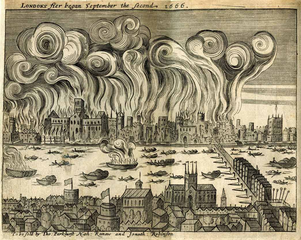 Woodcut: Shlohavot, or, The burning of London in the year 1666.