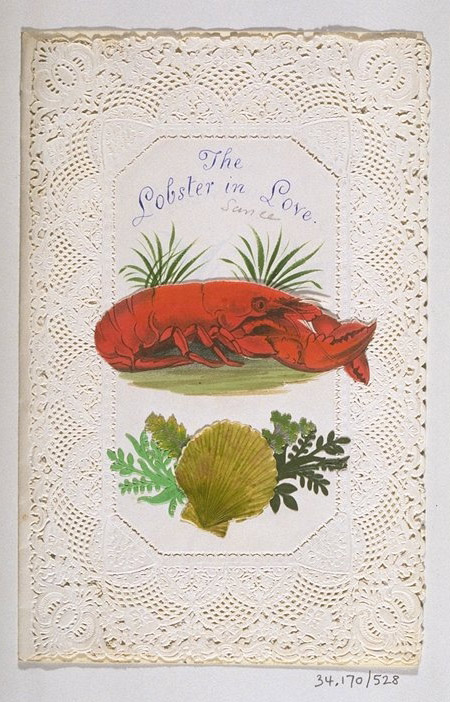 A Victorian handmade Valentine's Day card depicting a lobster.