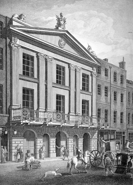 View of the New Front towards Bridges Street of the Principal Entry to the Theatre Royal Drury Lane. Engraving.