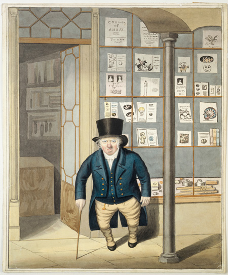 The unidentified owner of a print shop standing before his shop window and door. He is short, portly, red-nosed, top-hatted and holds a cane. The shop window in the background displays a variety of prints and part of the interior of the shop can also be seen.