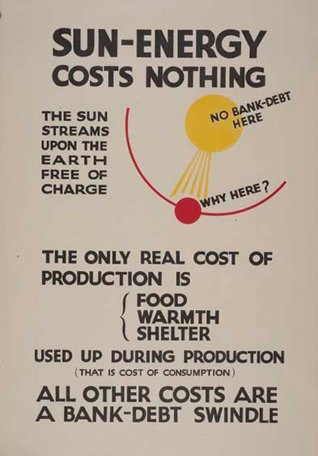 One of a series of four Instructional posters, produced by the Social Credit Party, probably in the late 1940s. Hargrave had become interested in solar energy in the1930s, but the advent of atomic power strengthened his belief in natural energy sources.