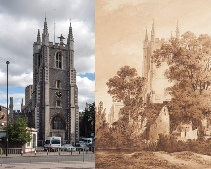 Croydon Church and the river Wandle in 1848 and 2019