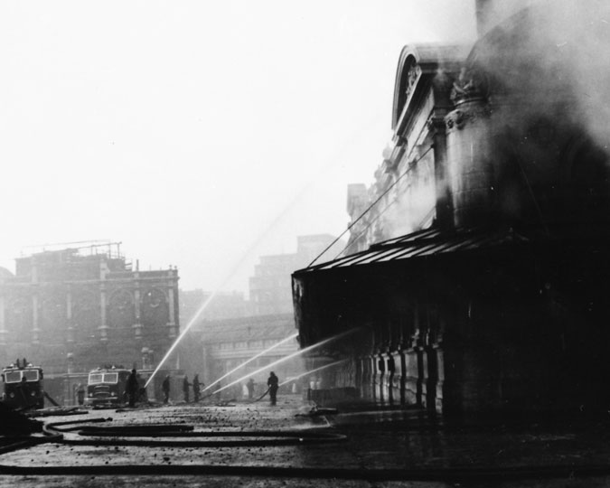 The fire that devastated the poultry market in 1958.