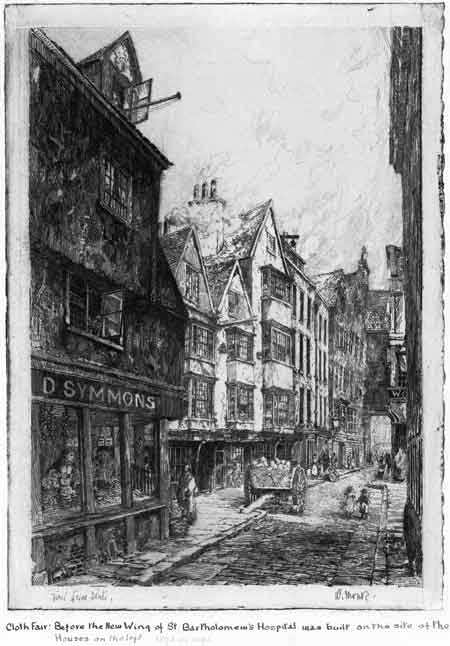 Cloth Fair. This etching print by William Monk show the street before a new wing of St Bartholomew's Hospital was built on the site of D. Symmons shop and the buildings on the left.