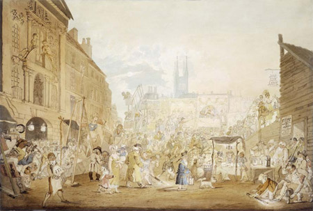 This lively watercolour of Bartholomew Fair shows the entertainments literally in full swing with the rides and sideshows displayed on the left. Bartholomew Fair was acknowledged as being the most famous fair in London which was held every August. In this crowded scene we see an early ferris wheel far left, people eating under an awning, watching masquerades and pantomimes.