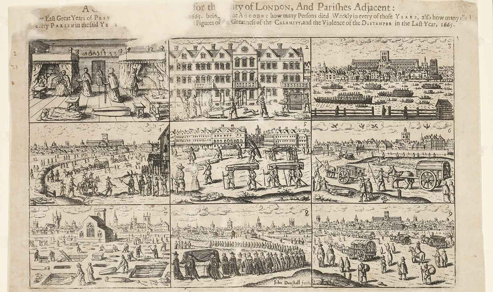 Plague broadsheet comprising 9 scenes relating to the 1665 plague.