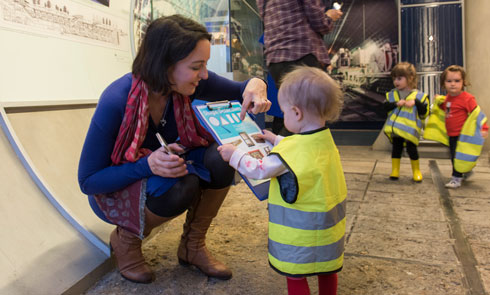 An under-5-year-old uses a self-directed resource at the Museum of London Docklands.