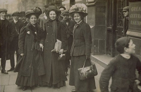 The Suffragette leaders Christabel Pankhurst, Minnie Baldock and Edith New stand side by side