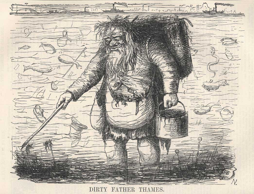 Dirty father Thames. Wood engraving for 'Punch Magazine', vol. XV, July-December 1848. This satirical image refers to the polluted state of the river Thames in the mid 1800s. Been refered to as the 'Great Stink', the Thames filled with sewerage, moved around and into surrounding houses with its tidal flow.