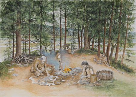 Artist's impression of Mesolithic hunter-gatherers