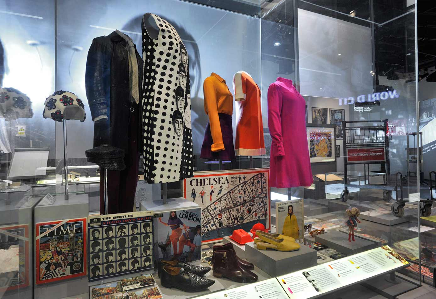 Case illustrating London fashions of the 1960s.